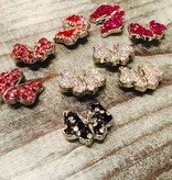 Snap Button Jewels™ | rhinestone | red | white outline Butterfly Bling