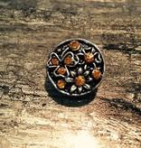 Snap Button Jewels™   Rhinestones   Silver   Amber Rhinestones Daisy Shape