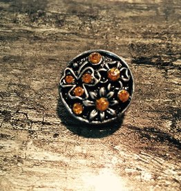 Snap Button Jewels™ | Rhinestones | Silver | Amber Rhinestones Daisy Shape