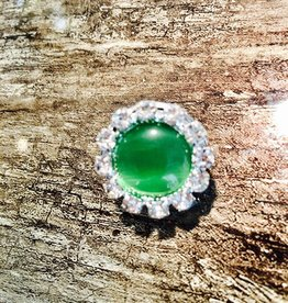 Snap Button Jewels™ | Rhinestone | Green | Pearlized Snap Circle