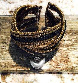 Bracelet | Gold Black | Beaded | 1 Snap