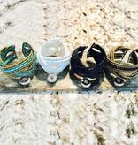 Bracelet | Gold Black | Beaded | 1 Snap