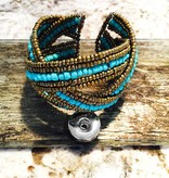 Bracelet | Gold Blue | Beaded | 1 Snap