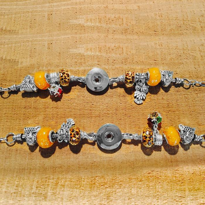 Bracelet | Silver Yellow | Pandora Style Charm | 1 Snap
