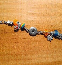 Bracelet | Silver | Pandora Style Rainbow | Snap