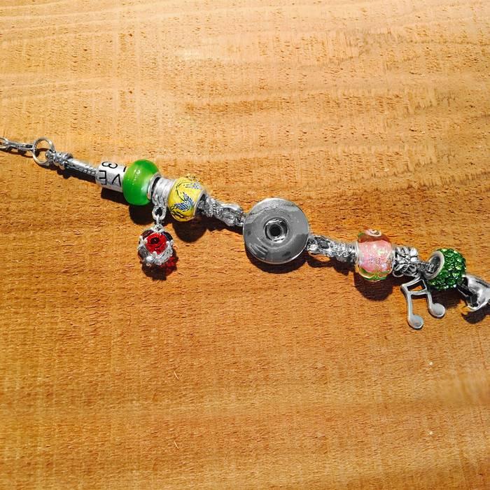 Bracelet   Green   Pandora Style Charm Lime Music Lover   1 Snap