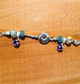 Bracelet | Blue | Pandora Style Crystal Ball Bling | 1 Snap