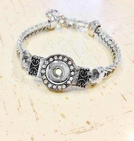 Bracelet   Silver   T-Clasp Rhinestone Bezel   1 Mini Snap
