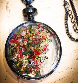 Necklace | Multi Color | Floating Charms Medallion