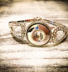 Bracelet | Silver | Crystal Heart Regular Clasp | 1 Snap Button