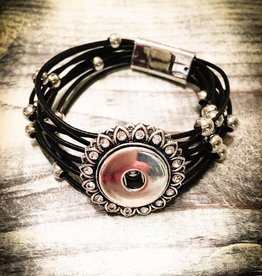 Bracelet | Black | Magnetic Leather Strap | Silver Beads