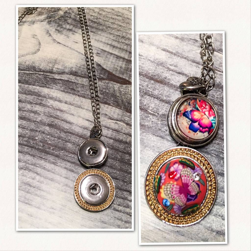 Necklace | Gold | Circle Accent | 2 Snap Buttons