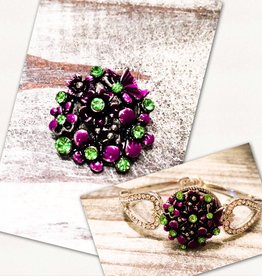 Snap Button Jewels™   Purple   Rhinestone   Lime Green Enamel   Snap