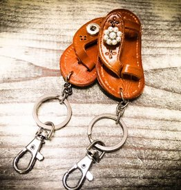 Key Chain | Medium Brown | Leather | 1 Snap