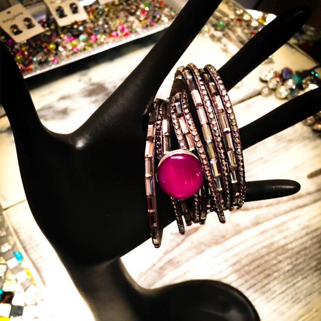 Bracelet | Silver | Multi Strap | Bling | 1 Snap