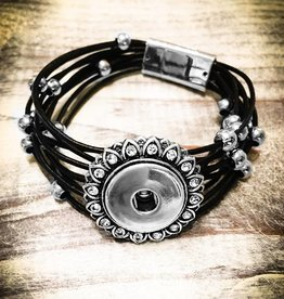 Bracelet | Black | Magnetic Leather Strap | Silver Beads | 1 Snap