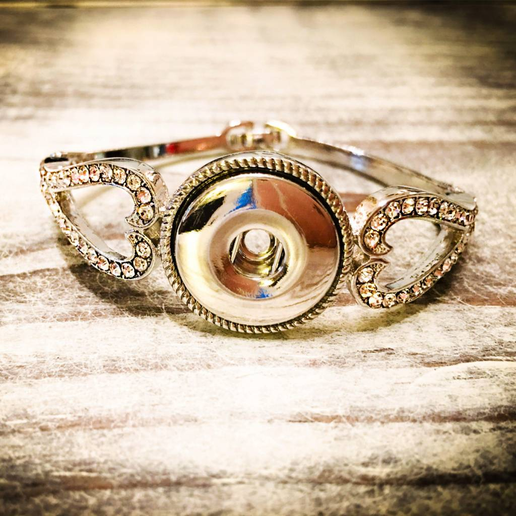 Bracelet | Silver | Crystal Heart Regular Clasp | 1 Snap Button