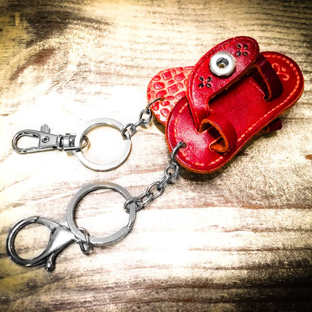 Key Chain | Red | Leather | 1 Snap