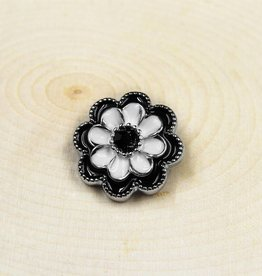 Snap Button Jewels™ | rhinestone | white | black enamel flower