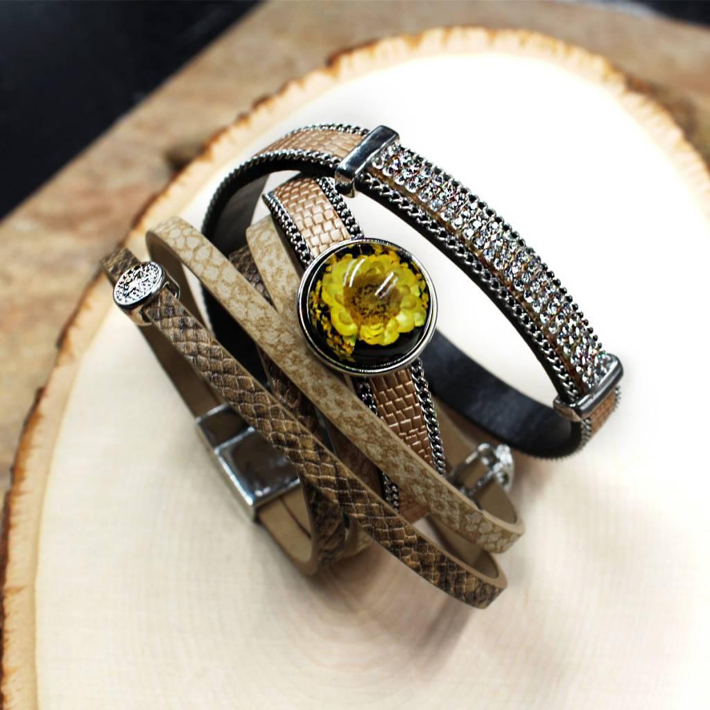 bracelet | brown | six strap magnetic close | 1 Snap Button