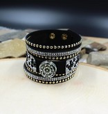 bracelet   black   thick strap round small crystals pearls   1 snap button