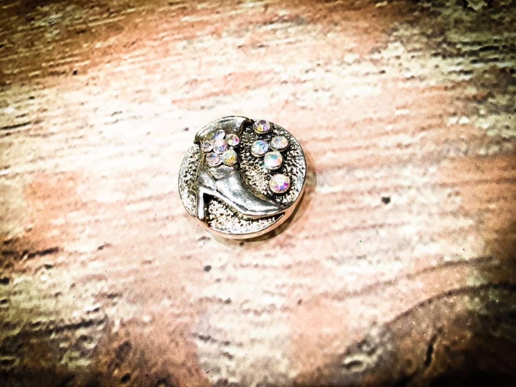 Snap Button Jewels™   Fashion   silver   Pink Rhinestone Boot