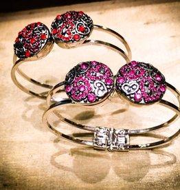 bracelet | silver | wide open clasp | 2 snap buttons
