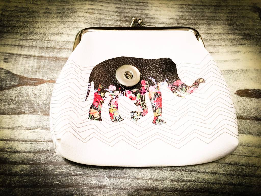 Wallet | White | Elephant Coin Purse | 1 snap