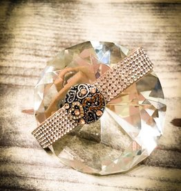 bracelet | light brown | leather rhinestones | 1 snap button