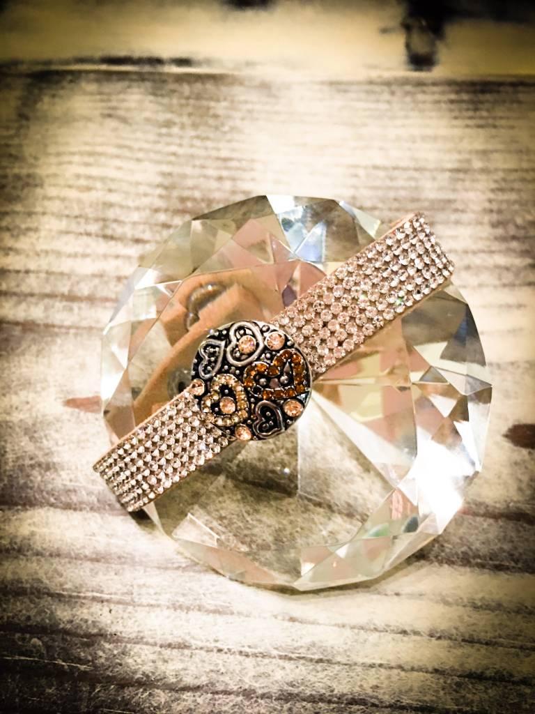 bracelet | light brown | leather rhinestones | 1 snap button