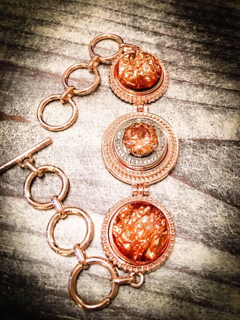 bracelet   rose gold   adjustable   3 snap button
