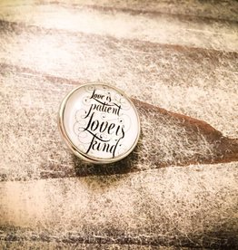 Snap Button Jewels™ | glass words of insight | white | love is patient