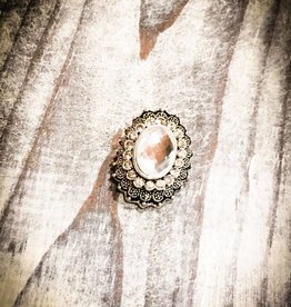 Snap Button Jewels™ | Rhinestone | White | 1920s Vintage Oval