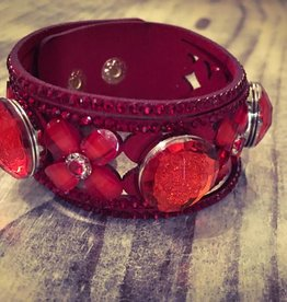 Bracelet | Cherry Red | Leather Bling Rhinestones | 3 Snaps