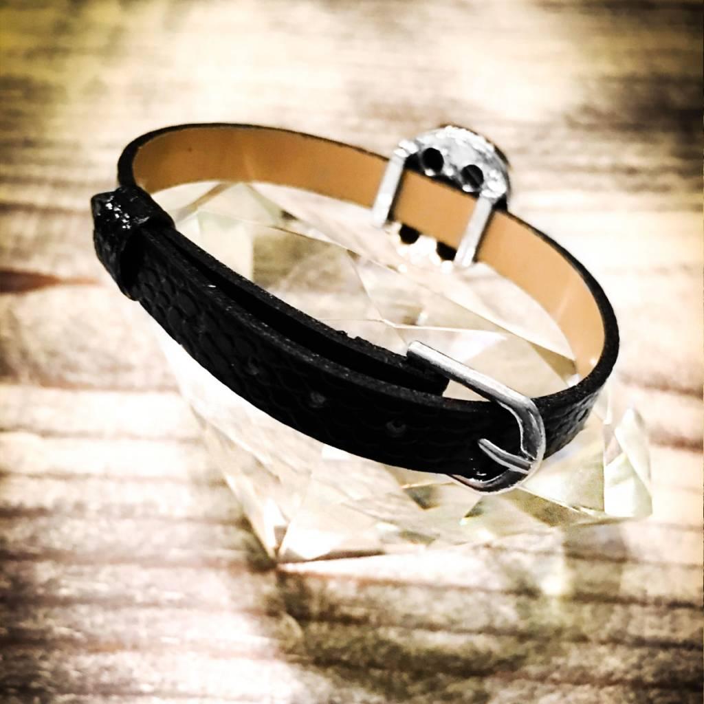 bracelet | black | croc leather | 1 Snap