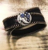 Snap Button Jewels™ | Fashion | Silver |Blue Rhinestone Boot