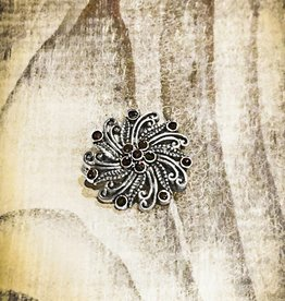 Snap Button Jewels™   Rhinestone   Silver   Vintage Swirl Garnet