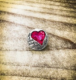Snap Button Jewels™ | silver | Love Between Mother Daughter | Hot Pink Rhinestone | Heart Text