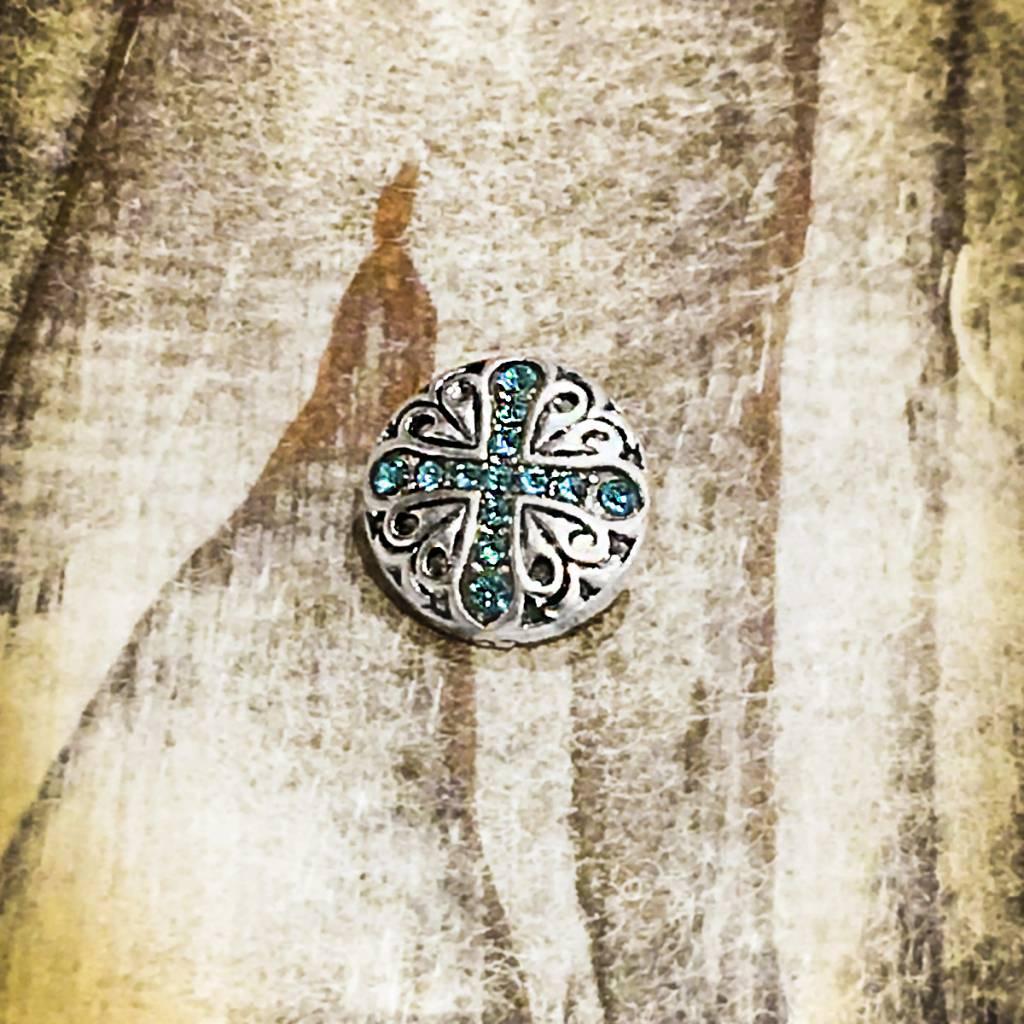 Snap Button Jewels™ | Rhinestone | Silver | X Blue Inlaid