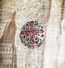 Snap Button Jewels®   Rhinestone   Silver   X Pink Inlaid