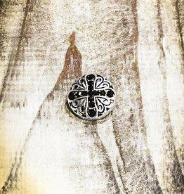 Snap Button Jewels™ | Rhinestone | Silver | X Black Inlaid