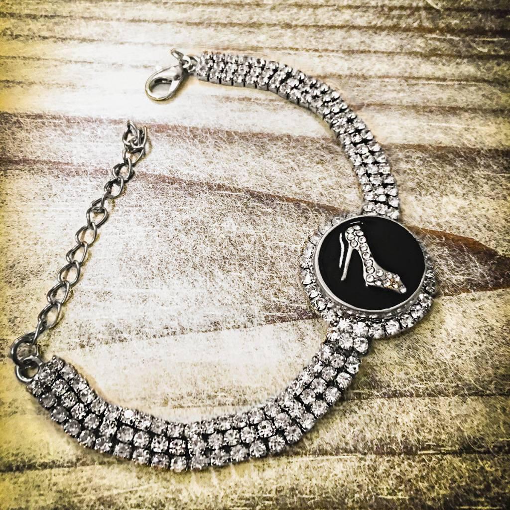 Snap Button Jewels™ | Rhinestone | White | High Heel Bling
