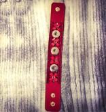 Bracelet | Cherry Red | Leather Bling Rhinestones | 3 Snaps