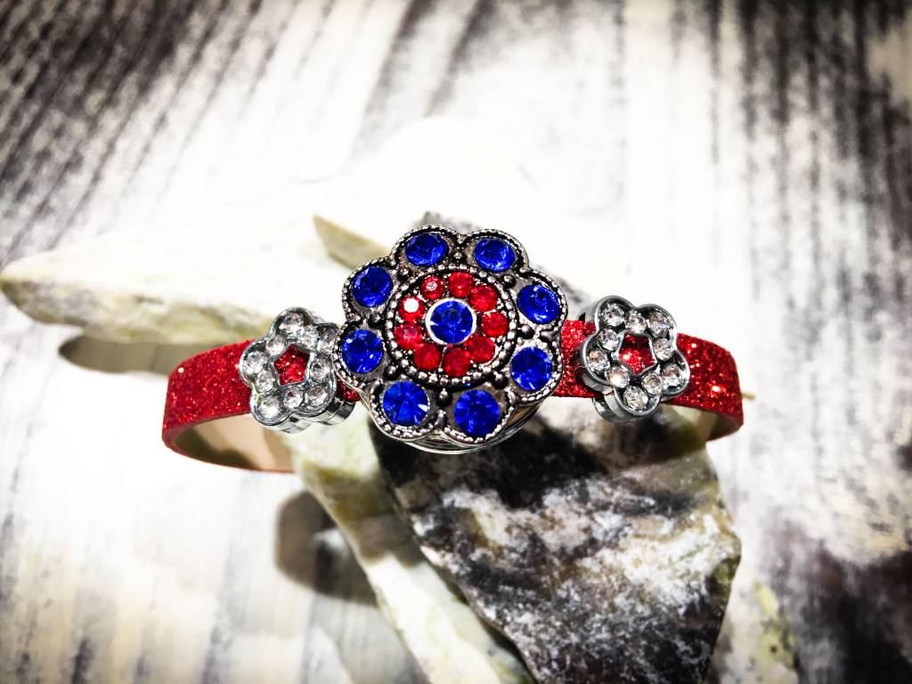 Snap Button Jewels™ | Rhinestone | Blue | Red flowers