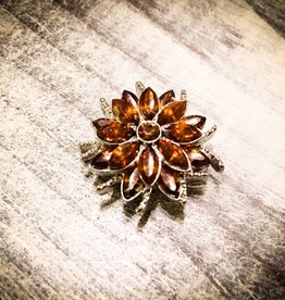 Snap Button Jewels™ | Rhinestones | Orange | Gem Flower
