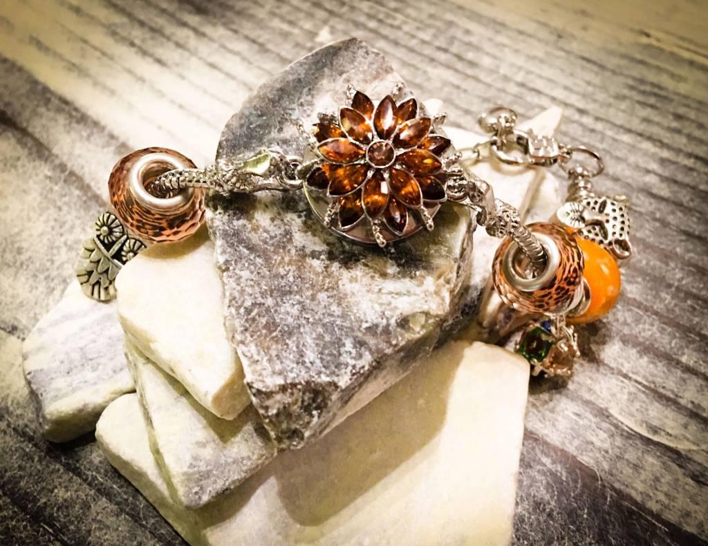 Snap Button Jewels™ | Rhinestones | Orange | Gem Flower
