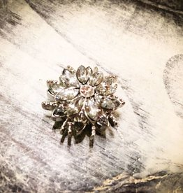 Snap Button Jewels™ | Rhinestones | Silver | Pointed Gem Flower