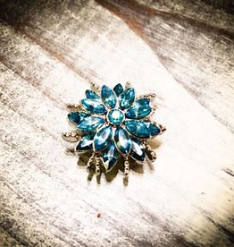 Snap Button Jewels™ | Rhinestones | Turquoise | Pointed Gem Flower