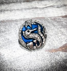 Snap Button Jewels™ | Rhinestone | Silver | Sea Horse | Blue Accents
