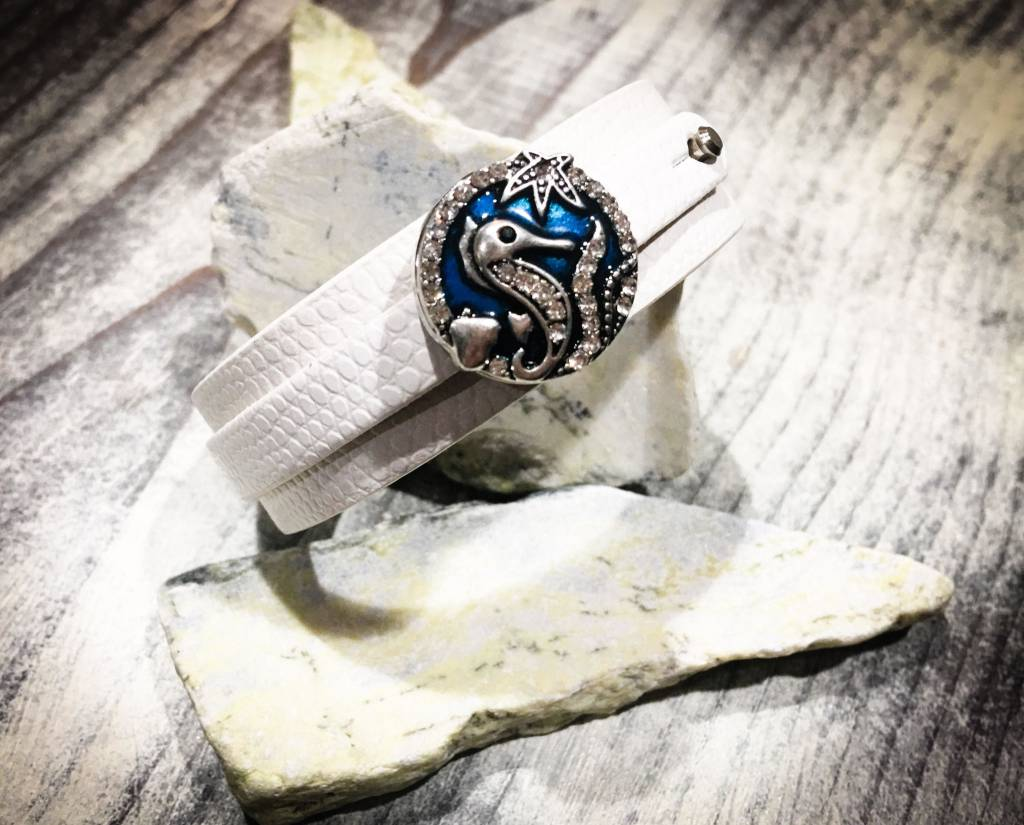 Snap Button Jewels™   Rhinestone   Silver   Sea Horse   Blue Accents